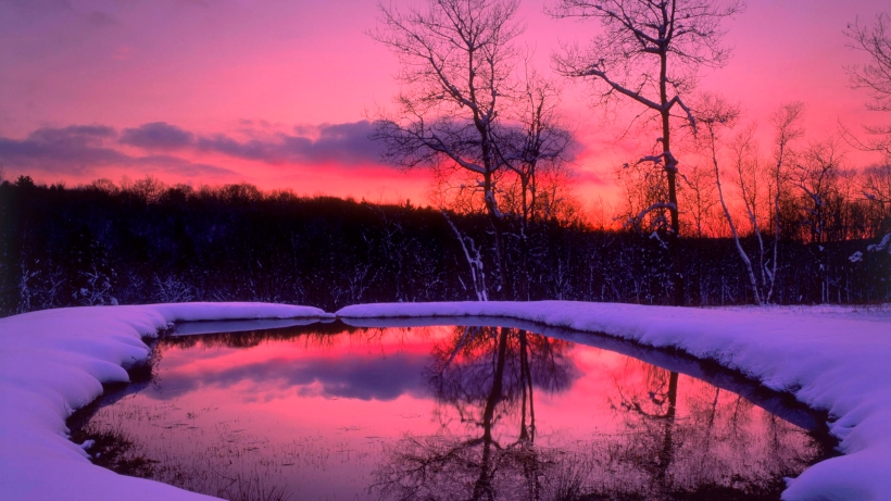 sunset-reflection-clouds-colours-forest-lake-nature-reflection-sky-snow-sunset-trees-winter